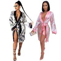 Pijama Seksi Pijama Etek Pijama Kadın İç Çamaşırı 2021 ABD Doları Baskılı Nightgown Hırka Homewear