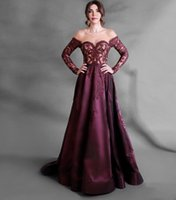 2021 Sweetheart Off Shoulder Long Sleeves Women Evening Dresses A-line Court Train Zipper Back Lace Appliques Prom Gowns Formal Pageant Wear