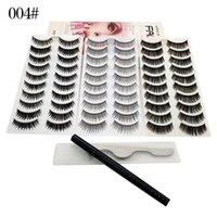 30 Pairs 3D Fuax Mink Lashes False Eyelashes with Tweezer and Liquid Eyeliner Self-adhesive Pen for Eye Lash 3styles set Natrual Long Wispies Eyelash