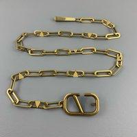 Damen Designer Ketten Gürtel Mode Luxus Designer Link Gürtel Für Frauen Brief V Schnalle Taille Kette Vintage Gold Bund Bronze Gürtel