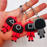 New Keychains Straps Silica Gel Mini Figurine Car Key Rings Halloween Costume Decoration Pendant Square Round Triangle Boss Gift Finger toys