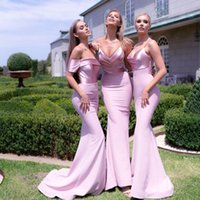 Stunning Country Style Mermaid Bridesmaid Dresses Spaghetti Straps V Neck Maid Of Honor Gowns Sweep Train Satin Wedding Guest Dress Custom Made