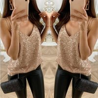 Women's Tanks & Camis Fashion Womens Party Bar Sexy Top Ladies Sparkle V-neck Strappy Tank Tops