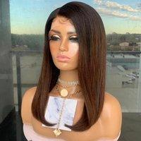 Ombre marrón cabello humano 13x6 peluca delantera de encaje con bebé Recto 360 pelucas frontales Remy Diadema Seda Top completo U parte