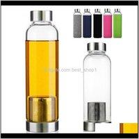 Бутылки высокотемпературные устойчивые стекла спортивная вода с чайным фильтром инфузора бутылка нейлоновая рукава моря Zmnzl MD7DZ