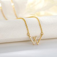 Chains Korean Fashion Zircon Letter W Necklace For Women Aesthetic Charm Choker Collier Rose Gold Sliver Color Stainless Steel Jewelry