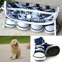 Dog Apparel 4PCS Puppy Pet Dogs Denim Shoes Anti-slip Bootie Walk Causal Sneaker Sport Boots