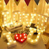 참신 항목 알파벳 문자 LED 조명 빛나는 번호 램프 장식 배터리 밤 라이트 파티 침실 결혼 생일 크리스마스 장식