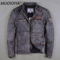 Men's Leather & Faux Factory 2021 Men Vintage Gray Motorcycle Jackets Genuine Cowshin China Size M-6XL Biker Winter Coats