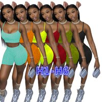 2021 Summer Women Tracksuits Tie Dye Cartoon Letter Printed Two Pieces Yoga Pants Outfits Sexy Suspenders Tops Shorts Jogger Suits