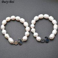 Pavé CZ et Abalone Shell Ancre en métal Charme Naturel Eau fraîche Perles Perles Perles Perles Stretch Bracelets Fashion Bijoux Cadeau Perlé, Strands