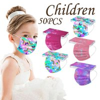 50PC Mascarillas Ninos Childrens Mask For Face Cubrebocas Tricapa Rainbow butterfly Printed Disposable Halloween Cospla
