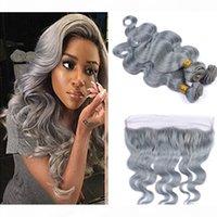 Moda Renk Gümüş Gri Vücut Dalga İnsan Bakire Saç Dantel Frontal Demetleri Ile Gri Isıya Dayanıklı Saç Uzatma Kapatma Gri Saçlı