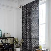 1.5m largura jacquard geométrica preto franjado boho estilo cozinha país baía janela janela cortina cortina