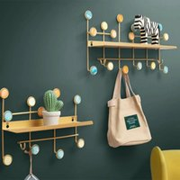 Wall Hook Iron Hanger Partition Rack Coat Decoration Wallet Key Storage Nordic Bedroom Shelf Home Accessories Bathroom Frame Hooks & Rails