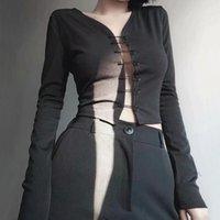 Women's T-Shirt WOMENGAGA Women Sexy V Neck Safety Pin Through Long Sleeved Top Summer Knitting Pins Tees T Shirt J92L