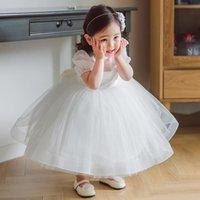 Girl's Dresses Beauty-Emily White Flower Girl Mid Length Short Sleeve Kids Dress For Wedding Princess Birthday Children Gowns