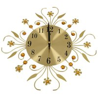 Wall Clocks Modern Crystal Diamond Clock, Luxury Flower Clock Silent Metal For Living Room, Bedroom, Home Art Decoratio