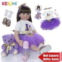 KEIUMI Soft Silicone Reborn Baby Doll 60cm Lifelike 24'' Reborn Menina Long Hair Kids Playmate Cloth Body For Birthday Surprise 210923