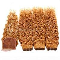 9A 젖은 물결 모양의 4x4 레이스 폐쇄 묶음 페루 버진 인간의 머리카락 폐쇄 색상 # 27 꿀 금발 머리 확장