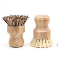 المحمولة خشبية فرشاة جولة مقبض وعاء فرشاة سيسال النخيل صحن وعاء عموم تنظيف فرش المطبخ الأعمال تنظيف أداة AH4994