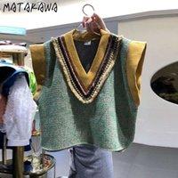Matakawa Femme Slim Court Pull Gilets d'automne de Corée 2021 New Duffle V-Col Vaistte sans manches Veste tricotée
