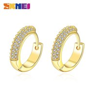 SKMEI LKN020 Classic Zirconia Hoop Ladies Earrings Fashion stud Gold Color Circle Jewelry aretes de mujer Stylish four-color zircon lined