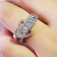 Anéis de casamento 2021 Luxo Rose Gold Prata Cor Anel de noivado de coração para mulheres senhora aniversário presente jóias por atacado moonso r5484