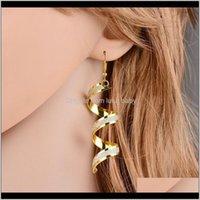 Chandelier Fashion Punk Women Twist Spiral Earring Lady Girl Dangle Earrings Charm Jewelry Valentines Day Gift Sier Gold Black 3 Color S1Y4A