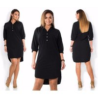 Women Shirts Dresses 3 4 Sleeve Turn-down Collar Casual Dress Summer Black Fashion Female Loose Mini Plus Size 6XL