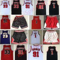Menmens Sports Shirts Bordado 1 # Derrick Rosa Vermelho O Verme 91 # Dennis Rodman Vermelho Branco Preto 33 # Scottie Pippen Basketball Jerseys Stitch