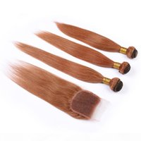 # 30 Auburn Color Malaysian Droit Teins de Cheveux humains Bundles et fermeture Meidum Auburn Virgin Virgin Hair Extensions de trame avec fermeture en dentelle 4x4Qu