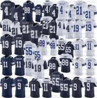 الرجال كرة القدم 4 Dak Prescott Jersey 21 Ezekiel Elliott 88 Ceedee Lamb 11 Micah Parsons 55 Leighton Vander Esch 19 Amari Cooper 9 Jaylon Smith مخيط الفانيلة