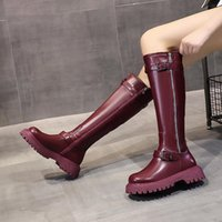 Boots Med Heel Zipper Women Shoes Autumn Boots-Women Round Toe Flat Rock Over-the-Knee 2021 Ladies Red Rubber Basic PU