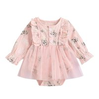 Girl's Dresses Baby Girls Romper Princess Dreses Long Sleeve Floral Casual Daily Gauze Dress 0-18 Months