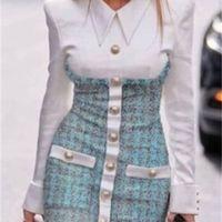 Дизайн европейские модные женские платья искусственные 2 штуки поворотный воротник рубашка заплатали твид шерстяной однобортный карандаш bodycon