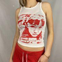 90s Punk Tank Portrait Graphic Print Vest Crop Top Cami Grunge Fairy Tanks E-girl 90s Vintage Y2K Women Sweats Tee Streetwear