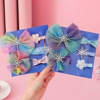 Hair Accessories Elegance Blue Lace Bowknot Headdress Children's Princess Snowflake Jewelry Baby Girls Colorful Hairpin Clips