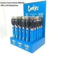 Cookies Twist Vorheizen VV Batterie 900mAh Unterspannung einstellbar USB-Ladegerät Vape Pen 30 stücke mit Anzeigefeld Ego vs Backwoods Gesetz freies UPS-Schiff