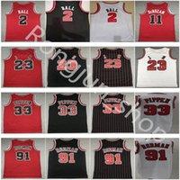 Homens Costurados 2 Lonzo Ball Basketball Jersey 11 Demar Derozan 23 Dennis 91 Rodman Scottie 33 Pippen Vermelho Branco Preto Preto Listra Camisa Top Quality