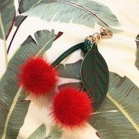 Keychains Luxury Cute Pompom Keychain For Bag Cherry Keyring Charm Fluffy Pendant Pom Key Chains Holder Chaveiro Gift