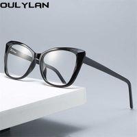 Oullylan Anti-Mavi Işık Gözlük Çerçevesi Kadın Erkek Kedi Göz Gözlük Çerçevesi Miyopi Optik Bilgisayar Gözlük Şeffaf Sahte Gözlük Y0831