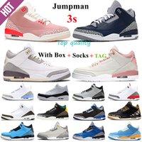 2021 الرجال jumpman 3 أحذية كرة السلة 3S UNC أسود أبيض رجالي شظية نيكس مناديل الرجعية النار الأحمر الثالث الاسمنت المحكمة المدربين أحذية رياضية