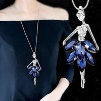 قلادة القلائد أزياء الأزرق كريستال الباليه الرقص فتاة قلادة الباليه الكلاسيكية اللون رابط سلسلة مجوهرات الهدايا