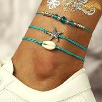 البوهيمي النجم الخلخال للنساء الشاطئ خلخال الأزرق مطرز سوار متعدد الطبقات شل الكاحل سوار سلسلة القدم المحيط المجوهرات