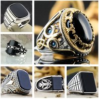 Chenrui Cross-Border Hot Selling European and American Style Popular Retro Pattern Black Surface Zircon Ring Factory Wholesale Direct Sales