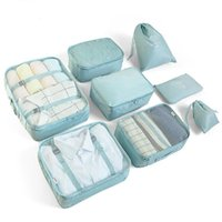 Cosmetic Bags & Cases ROvnsHE 8-piece Suitcase Organizer Storage Bag Travel Clothes Underwear Shoes Packing Cube Luggage Case Accessories
