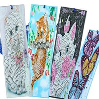 5D DIY Özel Şekilli Elmas Boyama Deri Bookmark Kedi Elmas Nakış Hayvan Zanaat Püskül Çocuklar Hediye Için Püskül Kitap İşaretleri Q0805