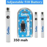 クッキーヴェイプバッテリー510スレッド電池充電器キット予熱蒸気ペン強力な350mAh VV可変電圧調整可能な電池のブリスターパック速い出荷