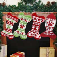 Christmas Pet Stocking Knitted Christmas Decorations Gift Socks Woolen Jacquard Xmas Gifts Bag DHB10299